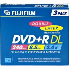 3 x Fujifilm Dvd + r a doppio strato 240 min 8.5 GB 2.4x in Jewel Case-Nuovo di Zecca