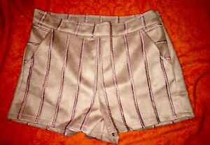 NWT She & Sky Medium Faux Suede Mini Short Shorts Lilac Embroidered