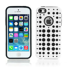 Slim Fit TPU Snap On Hard Case Skin Cover For Apple iPhone 5s 5 Polka Dot White