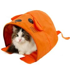 CARTOON SHAPE MOUSE Collapsible Bed CAT--DOG TENT ~ ORANGE + SQUEAKY TOY ~ NEW!