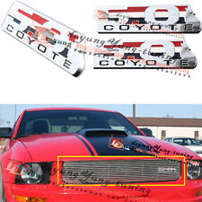 3X Chrom 5.0 COYOTE Emblem Badge Front Grill+Fender Ford Mustang F-150 BOSS 302