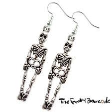 Hand Made Silver Colour Mini Skull /& Cross Bones Earrings HCE365