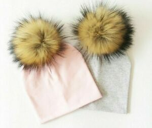 Winter Baby Hat Faux Baby Cap Cotton Pompom Bobble Hat For Kids Boys And Girls