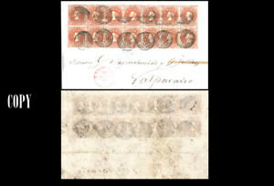 CHILE 1854, 5c Red Brown block of fourteen, cancel red Santiago 10 Agto 5, COPY