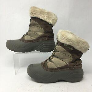 Columbia Womens 7.5 Sierra Summette Duck Winter Boots Suede Faux Fur Lined Brown