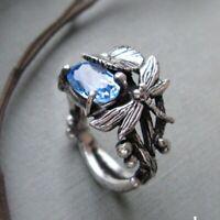 Damen Zirkon Blau Topas Ring Fingerring Libelle Lotus Ring Modeschmuck Geschenk