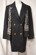 Forrani Black Coat Jacket Button Up NWT $150 Petite Sz 10P 100% Wool w/Scarf