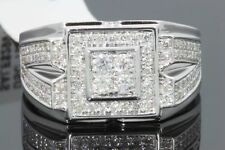 10K WHITE GOLD 1.04 CARAT MENS REAL DIAMOND ENGAGEMENT WEDDING PINKY RING BAND