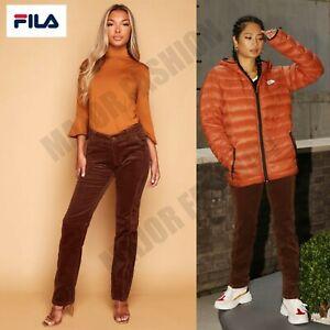 Ladies Womens Fila Brown Cord Slim Fit Trousers Pants Jeans Chocolate UK 8-16