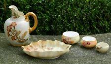 Royal Worcester Ivory Blush Pitcher Ewer Candy Dish 3 Salts Trinket Pots