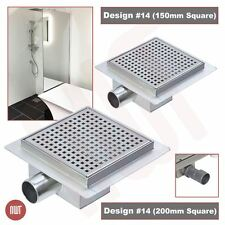 """""""Square"""" Stainless Steel Shower, Wetroom Drainage Gully (150mm or 200mm)"""