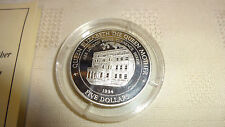 1994 FIJI SILVER PROOF $5 FIVE DOLLAR COIN WITH CERTIFICATE - THE QUEEN MOTHER