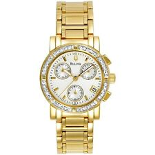 BULOVA  #98R97  GENUINE DIAMOND  CHRONOGRAPH WOMEN'S S.S. GOLD-TONE LUXURY WATCH