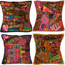 """Recycled Sari Embroidered Cushion Cover 16"""" 40cm Fabric Indian Boho Ethnic Patch"""