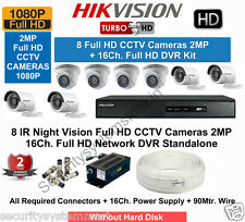 HIKVISION Full HD (2MP) 8CCTV Cameras & 16Ch.Full HD DVR Kit (All Accessories)
