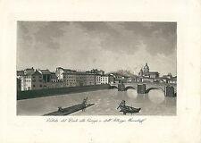 1831 PONTE ALLA CARRAIA Firenze Toscana acquatinta Gandini