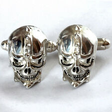 SKULL cufflinks Sterling Silver 925 Enamel Hand Made 3D Unique Collectibles