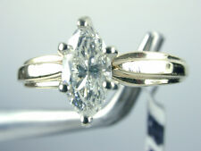 1329 Solitaire Diamond Engagement Ring .60 Carat Marquis 6 Prong 14k Gold Size 7