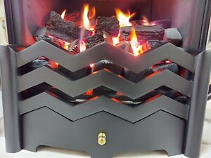 """Jazz 16"""" Black Texture Cast Aluminium Firefront Fret For Gas or Electric Fire"""