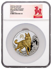 2018 Niue Year of Dog 5 oz High Relief Silver Lunar Gilt $8 Ngc Pf69 Er Sku49317