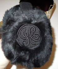 NIB Juicy Couture Black Rabbit Fur Logo Ear Muffs YTRUC097