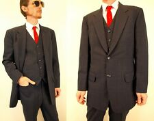 Vintage Mens Blue Gray 3 Piece Suit Size M 40 Mod Pinstripe Retro Prom Vest Mod