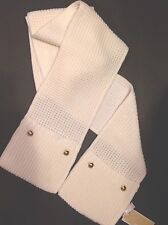 MICHAEL KORS Scarf With Pockets CREAM Gold Tone Dome BUTTONS KNIT SCARF NWT $68