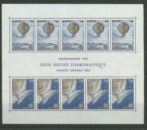 Space Shuttle Balloon Two Centuries Aeronautics mnh minisheet 1983 Monaco #1369a