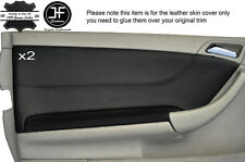 BLACK STICH 2X FRONT DOOR LEATHER COVERS FITS MERCEDES C CLASS CL203 W203 COUPE