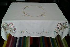"VINTAGE COTTAGE FLOWER BASKET EMBROIDERED LINEN TABLECLOTH 50"" × 50"""