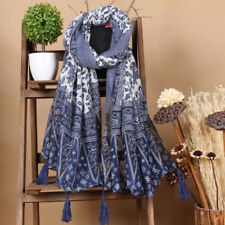 New Summer Scarf Cotton Floral Tassel Shawl Sunscreen Folk-custom Hijab Wrap
