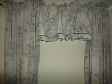 JC PENNEY ROSE PINK GRAY FLORAL TOILE  (3PC) RUFFLED PANELS & VALANCE & TIEBACKS