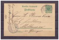 Deutsches Reich, Ganzsache P 32 Lippstadt nach Mühlhausen 1899 Bahnpoststempel