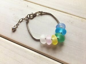 Handmade Light Rainbow Sea Glass Bracelet Adjustable Knitted Alloy Chain Jewelry