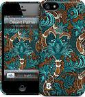 "Hard Case -  iPhone 5, 5S. ""Desert Palm"" Vntg inspired pattern in Blues, Sepia B"