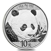 2018 Chinese Panda 30 Gram .999 Silver Mint Capsuled BU Round Bullion Coin