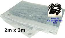 Clear Tarpaulin PVC 2M x 3M Market Sheet Camping Cover Waterproof TL025
