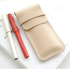 fountain pen bag Genuine cow Leather Customize handmade case beige white z337