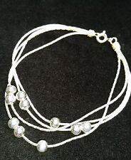 Slinky Silver Bead Bracelet Genuine 925 Sterling 7.5 Inches of Luxury w Gift Box