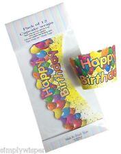 12 x HAPPY BIRTHDAY DESIGN CUPCAKE Wraps WRAPPERS FESTA TORTA DECORAZIONE