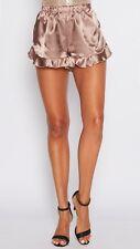 Women's Oscar St Mocha Brown Shiny Satin Style Frilly Mini Shorts Size M/10