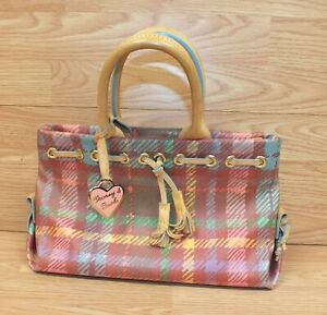 Dooney & Bourke Multi Color Plaid Vinyl Handbag / Purse w/ Leather Hand Straps
