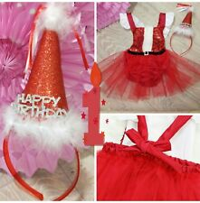 baby girls first 1st birthday outfit red dress cake smash Christmas photo shoot