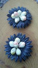 Vintage fabric and resin Flower shoe clips pair.