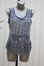 M&S Per Una Weekend Sizes 10 14 16 Cotton Blend Sleeveless Flared Blouse Top