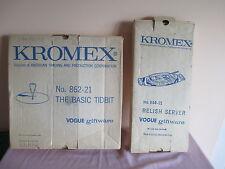 2 VTG MID CENTURY KROMEX VOGUE GIFTWARE, RELISH & TIDBIT TRAY, GOLD TONE HANDLE