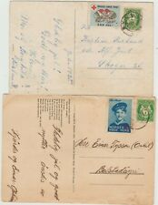Norway 2 Post Cards 1932,1945 with Red Cross Labels attached, good condition