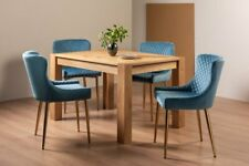 Blake Light Oak 4-6 Seater Dining Table & 4 Cezanne Petrol Blue Velvet Fabric Ch