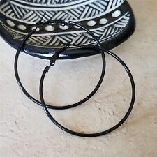 """Sleek Black Large Hoop Earrings 50mm 2"""" Leverback Minimalist Classic"""