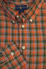 Polo Ralph Lauren Boy's Orange Blue & Green Plaid Cotton Casual Shirt L Large